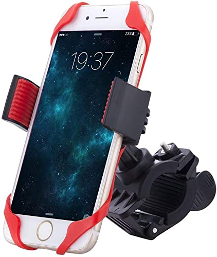 BRANDSUN Universal Bike Handlebar Mobile Holder Mount With Silicone Spider Grip Compatible With All Smartphones For Motorcycle Bicycle Clamp Cradle Bracket GPS Navigation Holder Stand