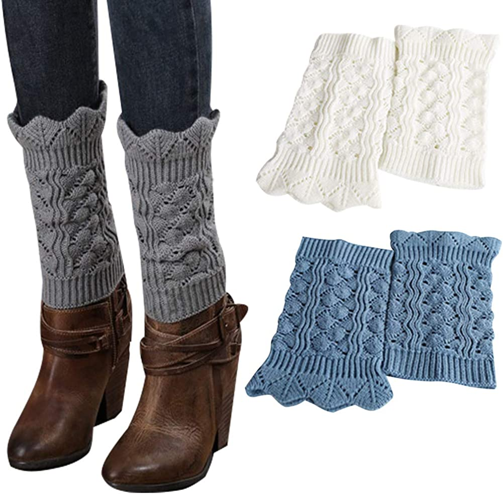 Womens Knitted Boot Leg Warmers Hollow Out Boot Socks Topper Cuff