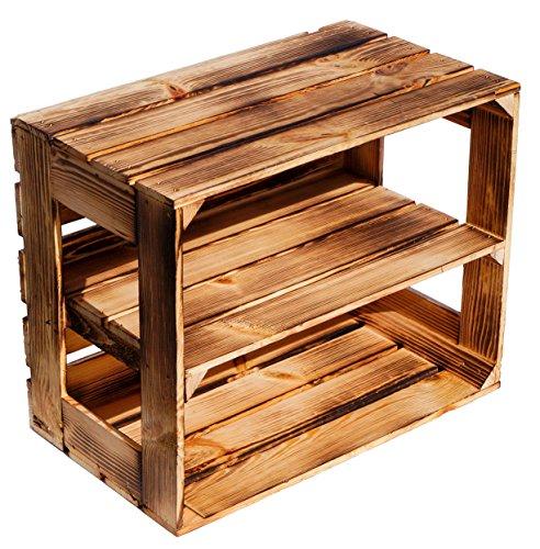 flambierte/geflammte Massive Obstkisten als Regal oder als Klassische Kiste ca 49 x 42 x 31 cm/Apfelkisten Weinkisten aus dem Alten Land (3 Stück geflammte offen mit Längs Einlage) - 2