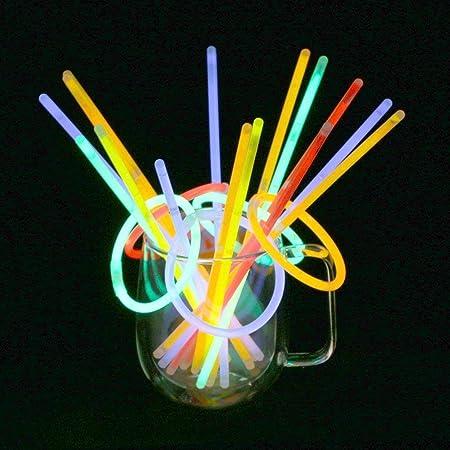 Vicloon Braccialetti Luminosi, 100Pcs Fluorescenti Glow Stick, Bagliore Colorato Bastoni Bulk con Connettori per Party, Feste e Carnevale (Colori Misti)