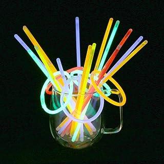 Vicloon Lichtstaafjes, 100 stuks, 5 kleurenmix, buiglichten met connector, glowstick, geschikt voor kinderverjaardagsfeest...