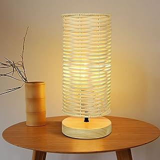Depuley Lampe de Table Abat-Jour en Rotin, Lampe de Lecture, Lumière Chaude E27, Design Moderne en Rotin et Caoutchouc, La...