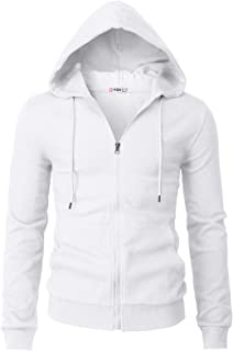 H2H Mens Casual Zip-up Hoodie Double Cotton Lightweight Hooded