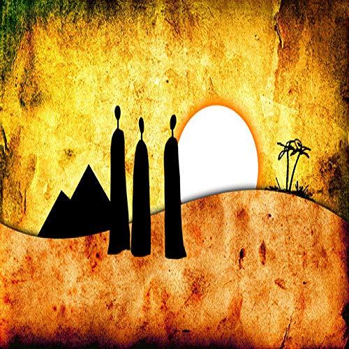 Geiqianjiumai Goldene abstrakte Landschaftsafrikanische Charakter-Ölgemälde-Leinwandplakat- und -druckkunst auf dem Wandbild im Wohnzimmer