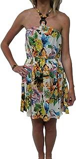 Girl Talk Clothing Womens Floral Bandeau Tie Halterneck Bead Short Skater Dress