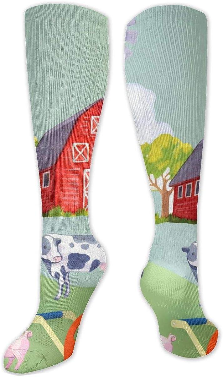 Farm Animals Field Knee High Socks Leg Warmer Dresses Long Boot Stockings For Womens Cosplay Daily Wear