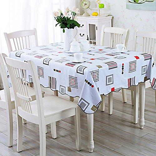 Nappes Facile essuyez Les Clips en Plastique de PVC du Rectangle Lavable de dîner pour des Parties Salle à Manger Garden Hotel Cafe Restaurant Anniversaire réseau Impression-S 152x152cm(60x60inch)