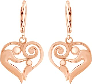 14K Gold Over Sterling Silver Mother And Child Heart Drop Earrings