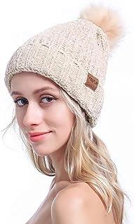 MEEFUR Women's Winter Pom Pom Beanie Crochet Adorable Trendy Hat Snow Knit Ski Bobble Cap