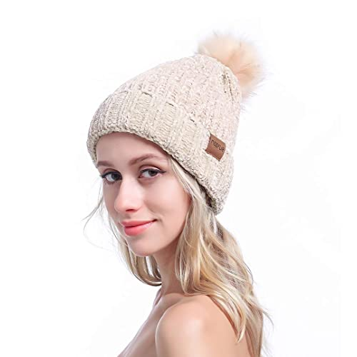 bba81d9670d MEEFUR Ladies Winter Skullies Beanie Hat Knitted Large Pom Pom Cap Ski  Snowboard Hats Girls Warm