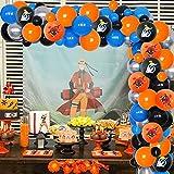 Guirnalda de globos y arco de color naranja azul y negro con temática de anime japonés, decoraciones de fiesta para niños, fiesta de cumpleaños, suministros de baby shower