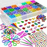 11,900+ Rubber Band Bracelet Refill Kit - 11,000 Premium Loom Bands in 28 Bright Colors, 600 S-Clips, 200 Beads, 30 Charms, 52 ABC Beads - Loom Bracelet Making Kit in a Huge Giftable Case