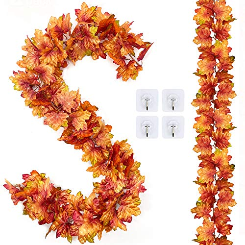 Tiny Land 2 Pack Fall Garland Maple Leaf,5.9Ft Hanging Mantle Vine Decor Artificial Decoration for Thanksgiving