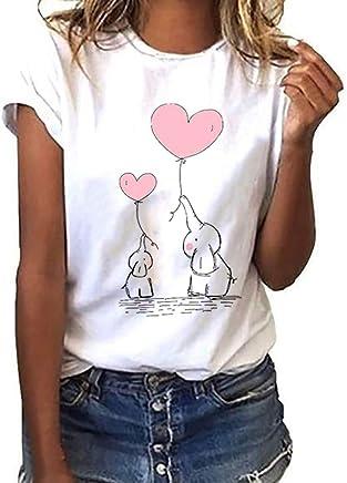 Darringls Maglietta Manica Corta Donna Estiva Elegante Camicia,T-Shirt da Donna Maglie Donna Taglie Forti T Shirt Donna Divertenti Stampata a Maniche Corte Maglietta Estiva Donna - Confronta prezzi