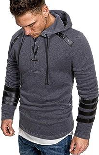 Kenmeko Felpa con Cappuccio Uomo autunno manica lunga patchwork top Tee Outwear camicetta