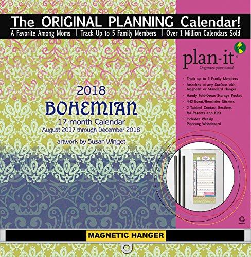 "Wells Street by LANG 18997009159 - ""Bohemian"", 2018 Plan-It Wall Calendar, Artwork by Susan Winget - 17 Month (Aug. 2017 - Dec. 2018) - Pocket, Tab, Whiteboard - Open 12"" x 26"""