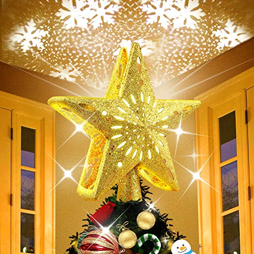 Kaufam Christmas Tree Topper Star Decoration Lighted with LED Rotating White Snowflake Projector, 3D Gold Tree Toppers for Festival Fantastic Romantic Indoor Light Lamp Gift for Home or Friends