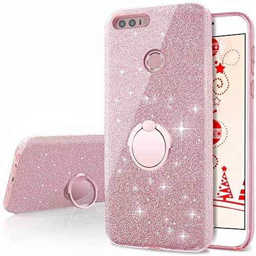 Huawei Honor 8 Case, Silverback Girls Bling Glitter Sparkle Cute Phone Case with 360 Rotating Ring Stand, Soft TPU Outer Cover + Hard PC Inner Shell Skin for Huawei Honor 8 -Rose Gold