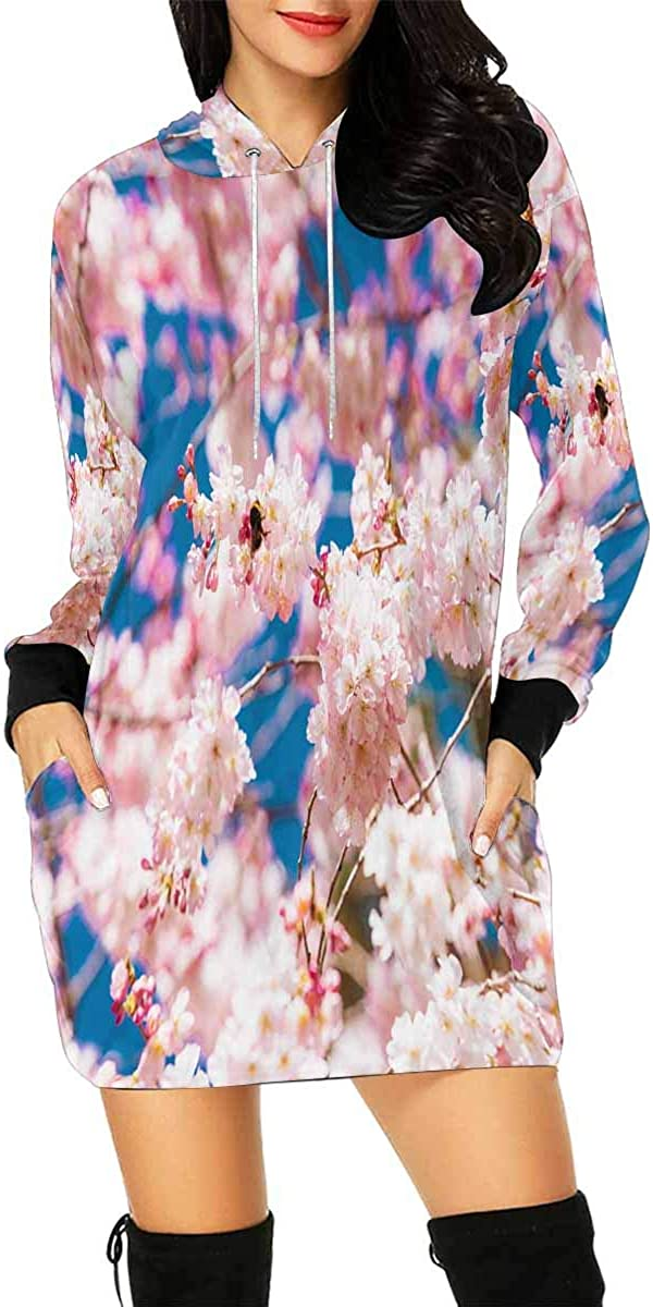 InterestPrint Attention brand Women's Mini Hoodie Don't miss the campaign Dress with Che Pocket Kangaroo