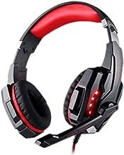長時間のプレイもノンストレス!ゲーミングヘッドセット PS4にも使用可能 ヘッドセット ゲーミングヘッドセット PS4 KOTION EACH G9000 ヘッドホン 3.5mm コネクタ 高集音性マイクとLEDライト付き マイク位置360度調整可能 ヘッドアーム伸縮可能 最高音質 耐摩素材 PS4 スマートホン パソコン タブレットなど対応 (ブラックxレッド)