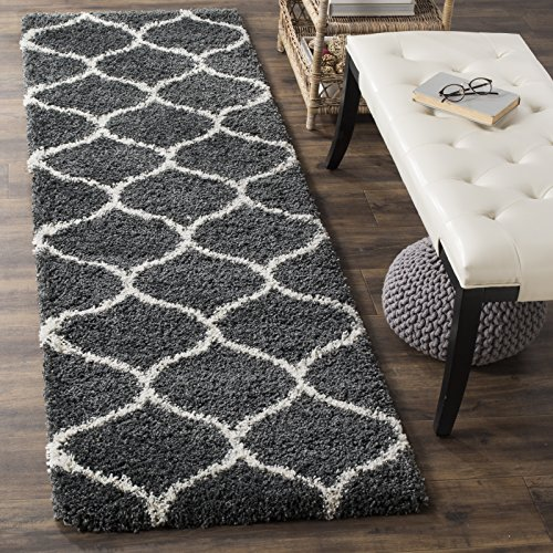 Safavieh Hudson Shag Collection SGH280G Moroccan Ogee 2-inch Thick Runner, 2' 3' x 8', Dark Grey/Ivory
