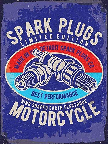 Best Performance Motorcycle Spark Plugs 8x12 Inch Wall Decor Retro Tin Sign Travel