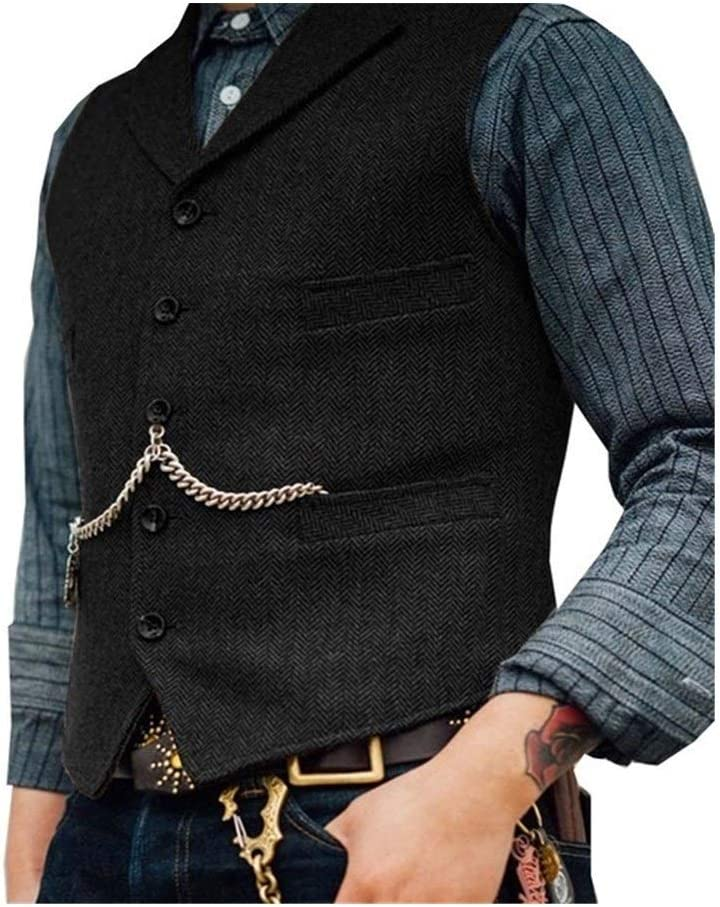 QWERBAM Men's Suit Vest Boutique Wool Slim Tweed Fit Limited time for free shipping Male Daily bargain sale Cotton