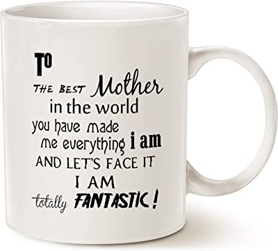 MAUAG Mothers Day Christmas Gifts Coffee Mug for Mom, To the Best Mother in the World.Fantastic Best Unique Mother's Gifts Cup White, 11 Oz
