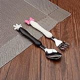 Calistouk Acier inoxydable mignon Dessin animé enfants Vaisselle Cuillère Fourchette ustensile de cuisine pour bébé enfant'
