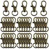 35 Pieces Swivel Clasps Lanyard Snap Hooks Swivel Snap Hooks Metal Keychain Clip Hooks Lobster Claw Clasps for Keychain Key Ring Crafts (Bronze)