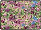 Primaflor - Ideen in Textil Tapis de Jeux Ville Rose 0,95m x 2,00m, Tapis de Chambre Fille | Tapis Circuit Voiture | Tapis de Sol Enfant de Haute Qualité
