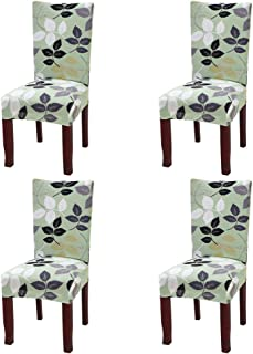 Fuloon Super Fit Stretch Jacquard Removable Washable Short Dining Chair Covers Seat Slipcover for Hotel,Dining Room,Ceremony,Banquet Wedding Party (4, E)