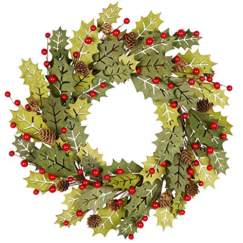 VGIA 18 Inch Christmas Wreath Greenwood Winter Wreath with Berries and Pine Cones Christmas Decorations