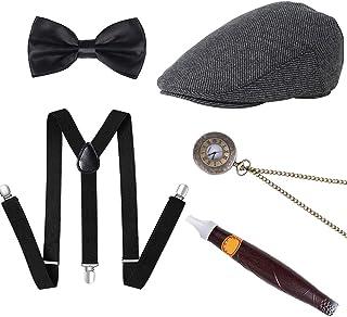 AUTOWT 1920s Men's Gatsby Accessories Gangster Costume Set Roaring 30s Beret Y-Back Suspender Bow Tie Retro Set