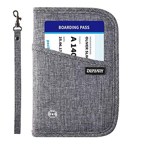 DEFWAY Reisepass Tasche Reisepasshülle Reisebrieftasche - RFID Ausweistasche für Damen Herren mit Griff Dokumententasche Portemonnaie Ausweismappe für Reisepass Kreditkarte Flugticket (Grau)