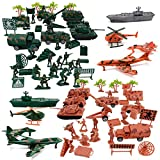 Liberty Imports Deluxe Action Figures Army Men Soldier Military Playset with Scaled Vehicles (73 pcs)