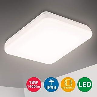 Oeegoo LED Lampara de techo 18W, IP54 Impermeable Plafon LED de techo, 1400Lm lamparas de techo habitacion baño dormitorio cocina balcón pasillo sala de estar comedor, blanco natural 4000K