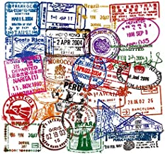Vinyl Immigration Stamp Stickers Pack 49 Pcs Visa Stamp Decals for Laptop Ipad Car Luggage Water Bottle Helmet Truck