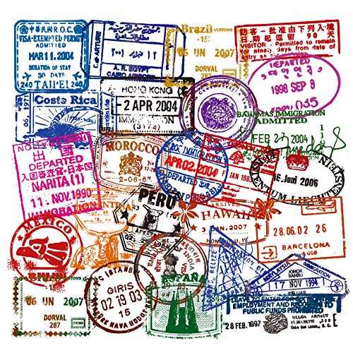 Vinyl Immigration Stamp Stickers Pack 50 Pcs Visa Stamp Decals for Laptop Ipad Car Luggage Water Bottle Helmet Truck