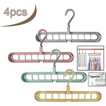 6 piezas Metal Cromado Robusto longitud 26cm Perchero con Dos Ganchos y Seis Ranuras Colgador Organizador para Ropa en Armario Ipow