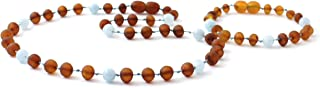 Raw Amber Teething Necklace and Bracelet/Anklet Set for Baby Made with Aquamarine Beads - Unpolished Cognac Amber Beads - BoutiqueAmber (Raw Cognac/Aquamarine)