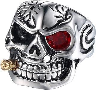 EXCOW الرجال الجمجمة التدخين خواتم خمر الفولاذ المقاوم للصدأ روك بانك سائق الدراجة الأزياء والمجوهرات