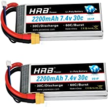 HRB 2pc 2200mAh 7.4V 2S 30C LiPo Batería con Enchufe XT60 Compatible con RC Traxxas 1/16 E-Revo VXL Summit Slash Losi 1/14 Mini 8ight y RC Cars