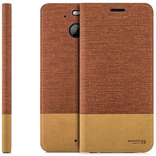 zanasta Designs Tasche HTC 10 EVO Hülle Flip Hülle Slim Schutzhülle Handytasche mit Kartenfach, Standfunktion   Rotbraun