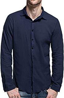 Tomwell Men's Standard Regular Fit Cotton and Linen Long Sleeve Shirts Slim Fit Solid Casual Button Down Shirts