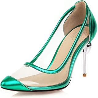 Transparent Colorblock High Heels For Banquet Wedding Dress Daily (Color : Green, Size : 35)