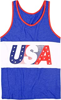 Men's Patriotic American Flag Tank Top - USA Red White...