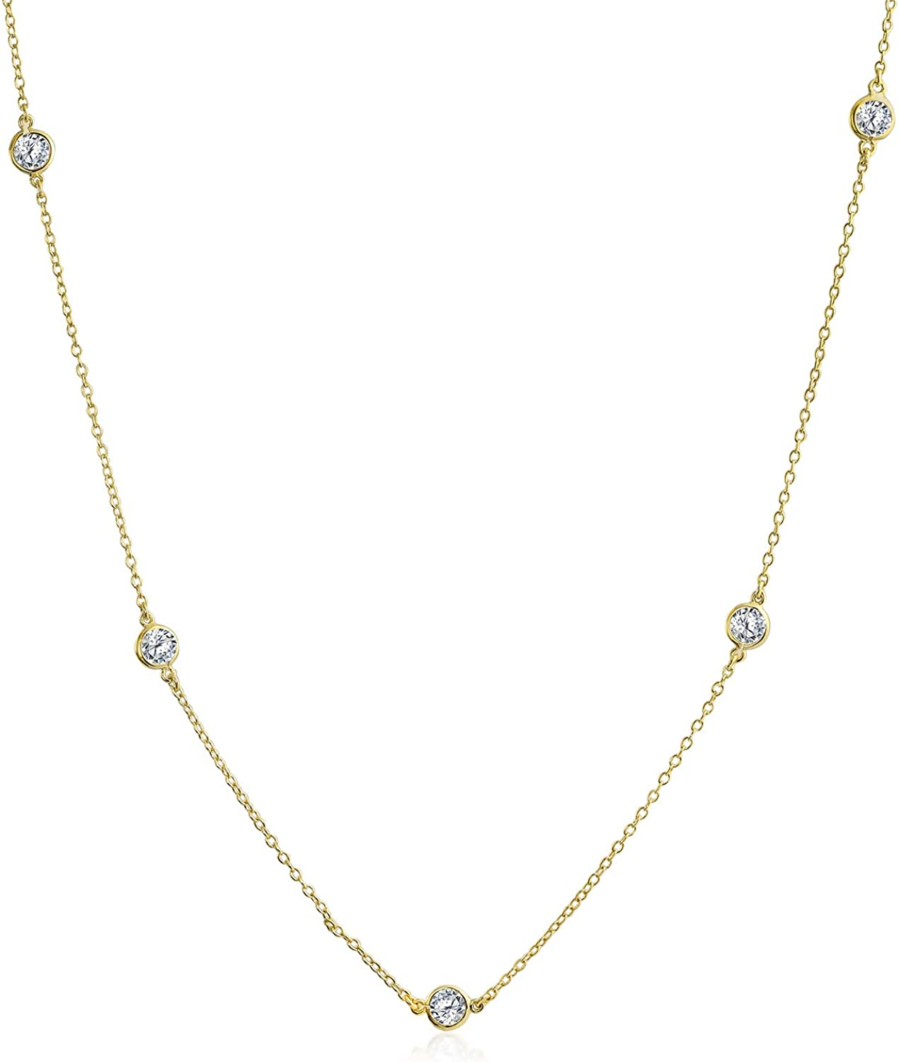 Bling Jewelry Selling rankings Minimalist Long Special price for a limited time CZ by Yard Cup Tin Chain Neckl The