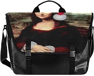 Mona Lisa With Santa Hat Messenger Bag Canvas Computer Shoulder Bag for Travel Work College for Men Women