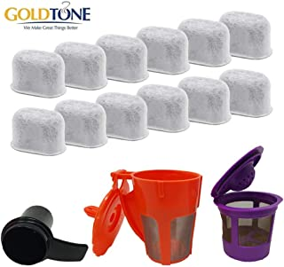 GOLDTONE Value Bundle for KEURIG Coffee Maker Machines - Includes (12) Water Filters, (1) Reusable Single Serve Filter, (1) Reusable Carafe Filter, (1) Coffee Scoop - Replaces K-Cup Filters
